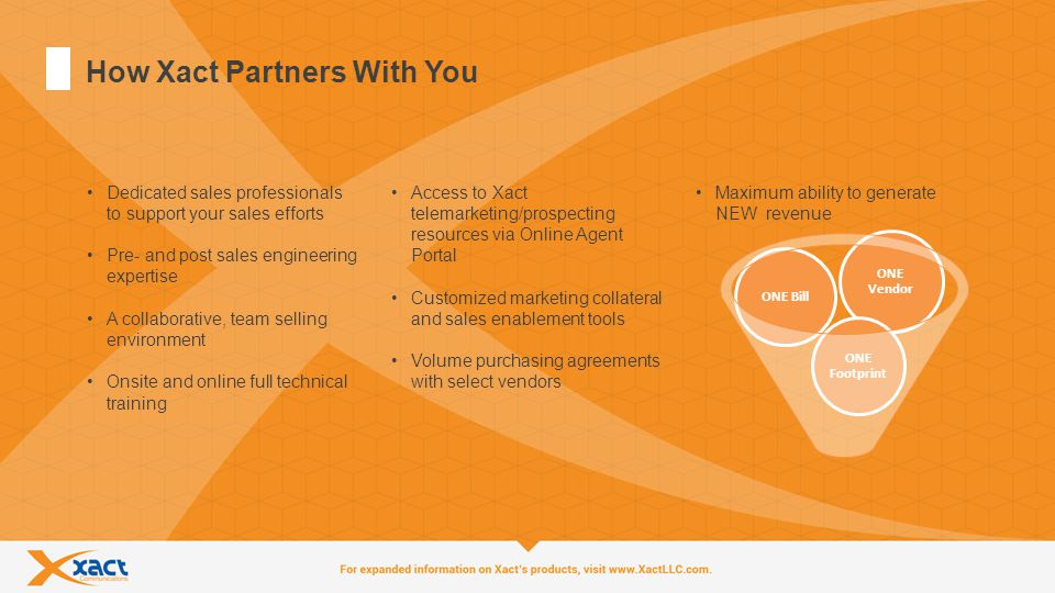 6 How Xact Partners With You Dedicated sales professionals to support your sales efforts Pre- and post sales engineering expertise A collaborative, team selling environment Onsite and online full technical training Access to Xact telemarketing/prospecting resources via Online Agent Portal Customized marketing collateral and sales enablement tools Volume purchasing agreements with select vendors Maximum ability to generate NEW revenue ONE Bill ONE Vendor ONE Footprint