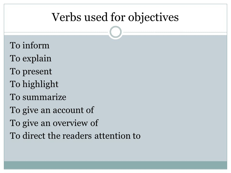 Activity: Objective of a report From the handouts provided, write the objectives of the report in your own words.