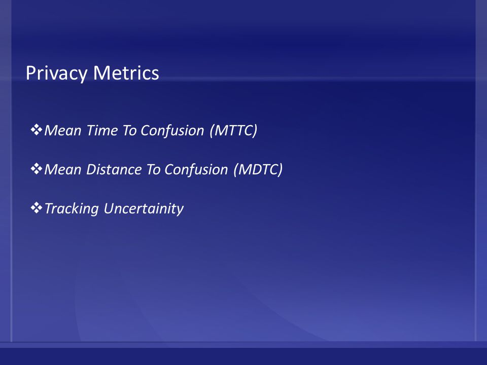 Privacy Metrics  Mean Time To Confusion (MTTC)  Mean Distance To Confusion (MDTC)  Tracking Uncertainity