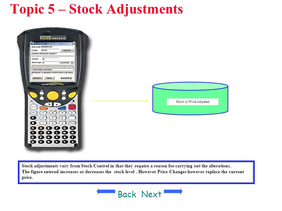 Topic 5 – Stock Adjustments Stock or Price Adjusted Stock adjustments vary from Stock Control in that they require a reason for carrying out the alter