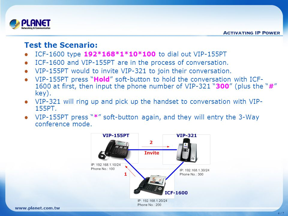www.planet.com.tw 4 / 7 Test the Scenario: ICF-1600 type 192*168*1*10*100 to dial out VIP-155PT ICF-1600 and VIP-155PT are in the process of conversation.