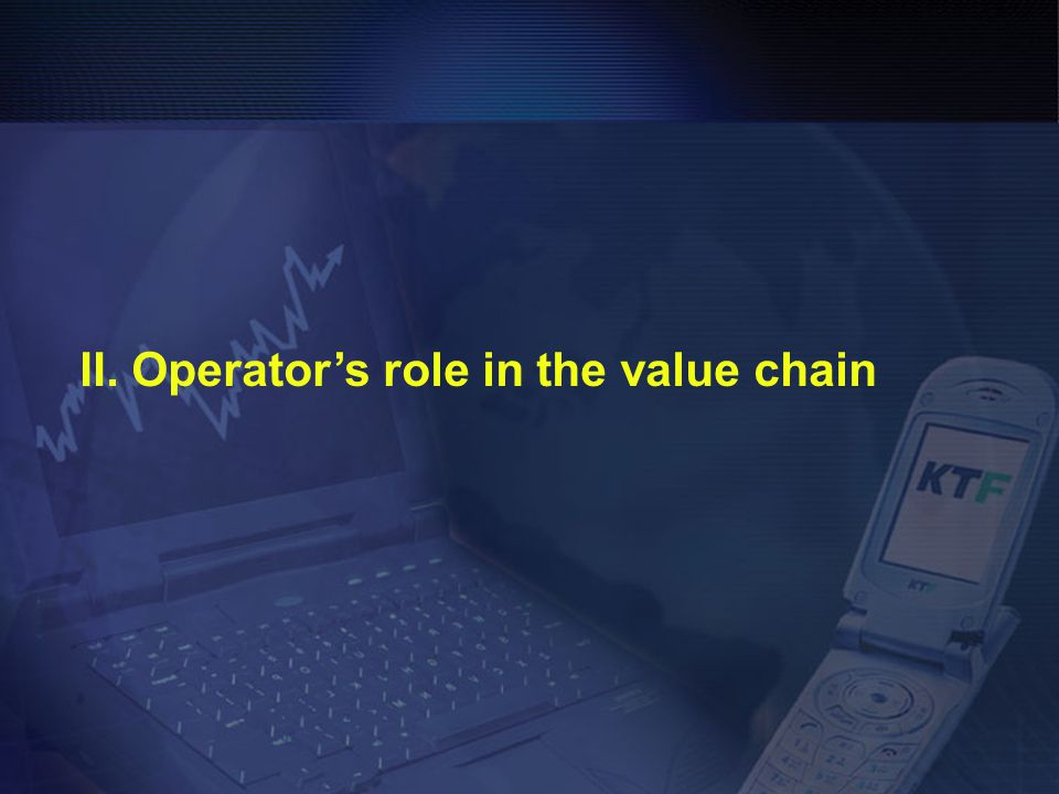 II. Operator's role in the value chain