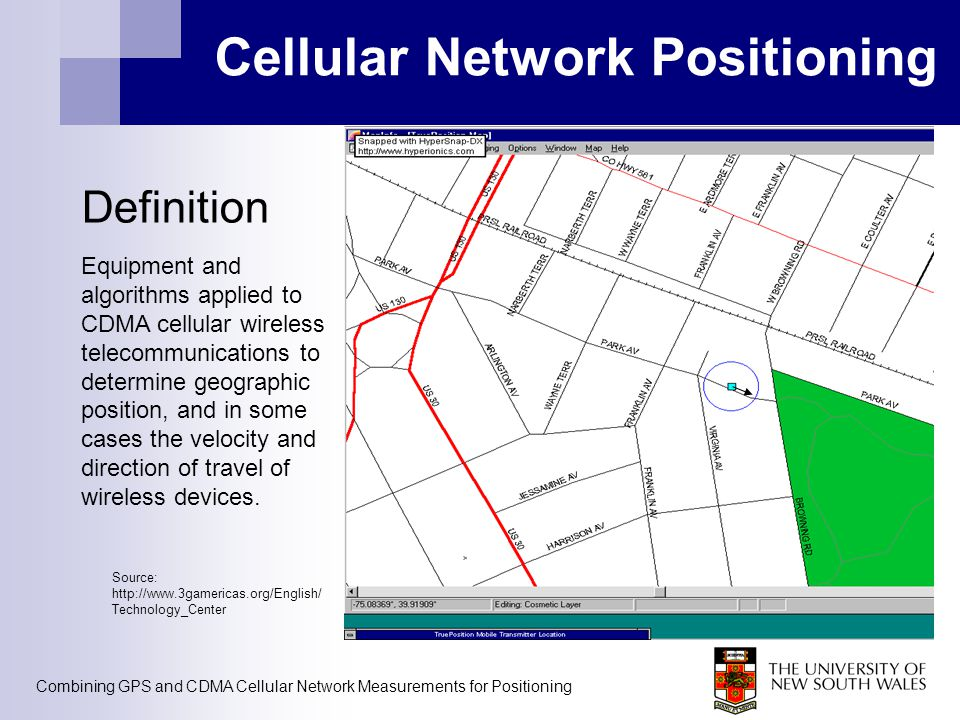 Cellular Network Positioning Definition Equipment and algorithms applied to CDMA cellular wireless telecommunications to determine geographic position, and in some cases the velocity and direction of travel of wireless devices.
