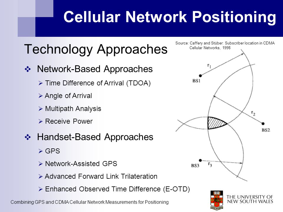 Combining GPS and CDMA Cellular Network Measurements for Positioning Cellular Network Positioning Technology Approaches  Network-Based Approaches  T