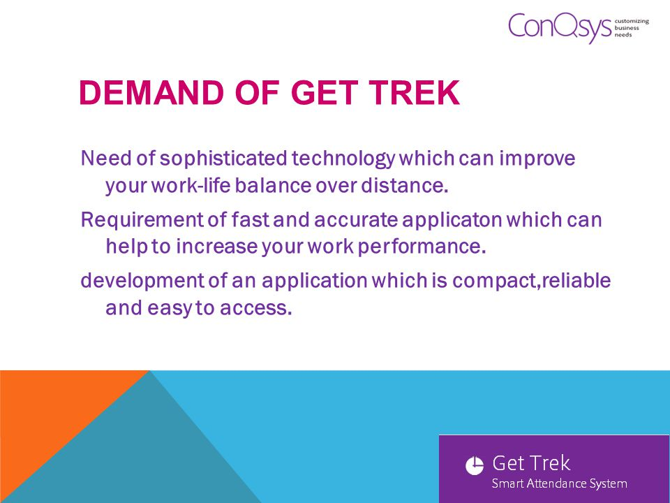DEMAND OF GET TREK Need of sophisticated technology which can improve your work-life balance over distance.