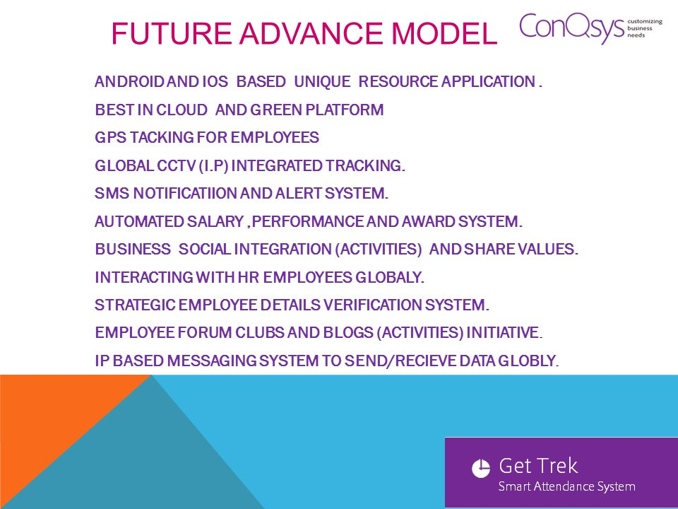 GET TREK TECHNOLOGY DELHI NCR-INDIA GetTreK smart attendance system powered by ConQsys Information Technology Pvt Ltd.