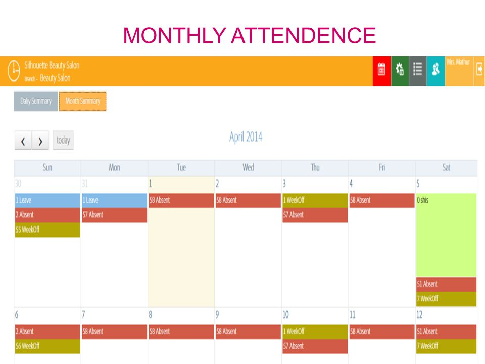 MONTHLY ATTENDENCE DELHI