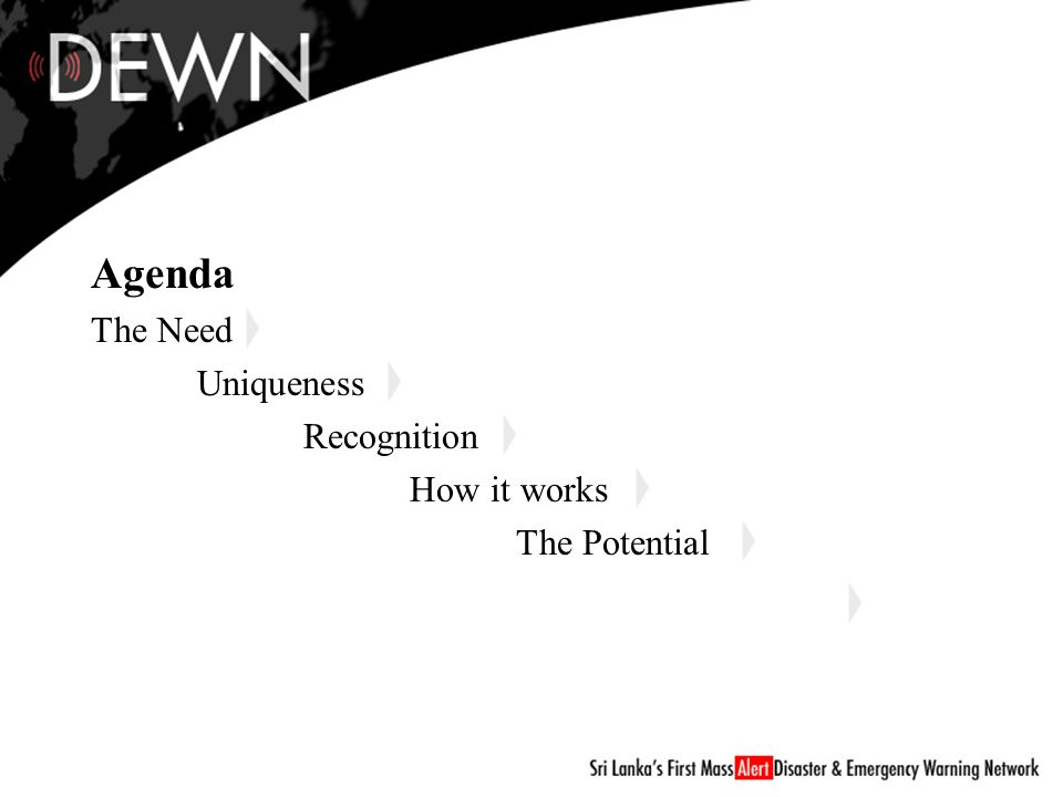 Agenda The Need Uniqueness Recognition How it works The Potential