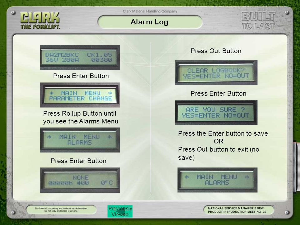 Previously Viewed Alarm Log NATIONAL SERVICE MANAGER'S NEW PRODUCT INTRODUCTION MEETING 05 Press Enter Button Press Out Button Press Enter Button Press the Enter button to save OR Press Out button to exit (no save) Press Rollup Button until you see the Alarms Menu Press Enter Button
