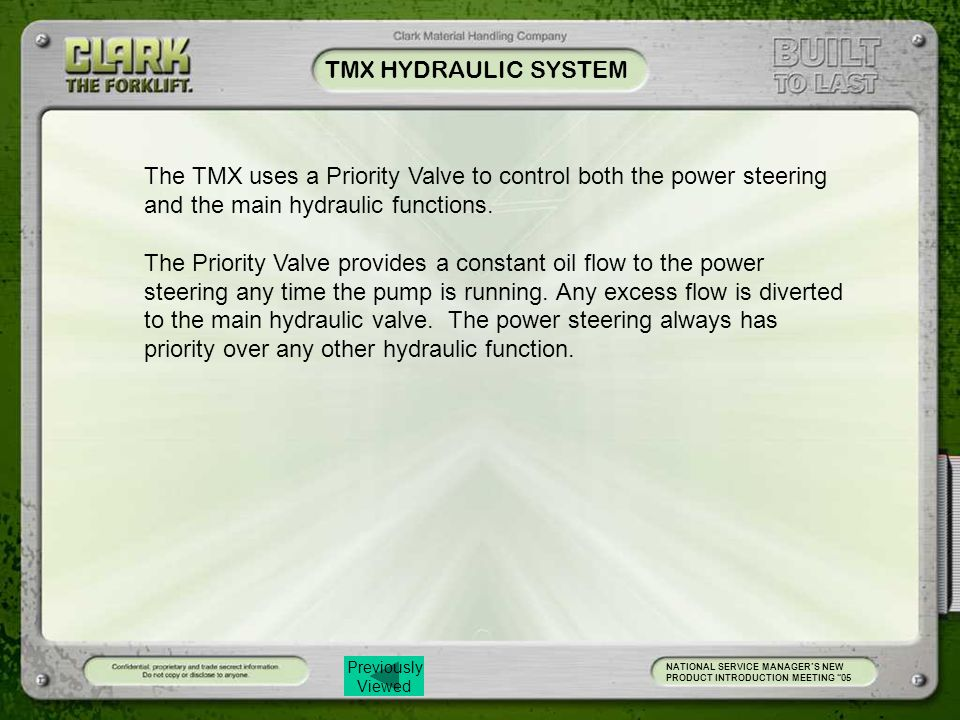 Previously Viewed TMX HYDRAULIC SYSTEM NATIONAL SERVICE MANAGER'S NEW PRODUCT INTRODUCTION MEETING 05 The TMX uses a Priority Valve to control both the power steering and the main hydraulic functions.