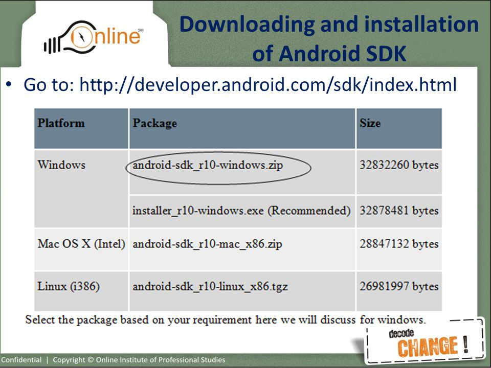 Downloading and installation of Android SDK Go to: http://developer.android.com/sdk/index.html