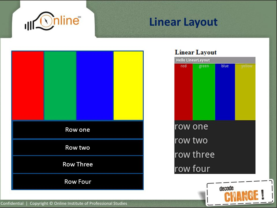 Linear Layout Main Container Layout With vertical orientation Second Layout with Horizontal Orientation Third Layout with Vertical Orientation Row one Row two Row Three Row Four