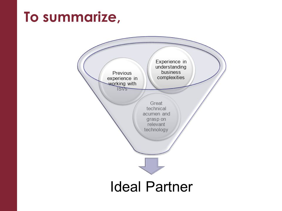 To summarize, Ideal Partner Great technical acumen and grasp on relevant technology Previous experience in working with ISVs Experience in understanding business complexities