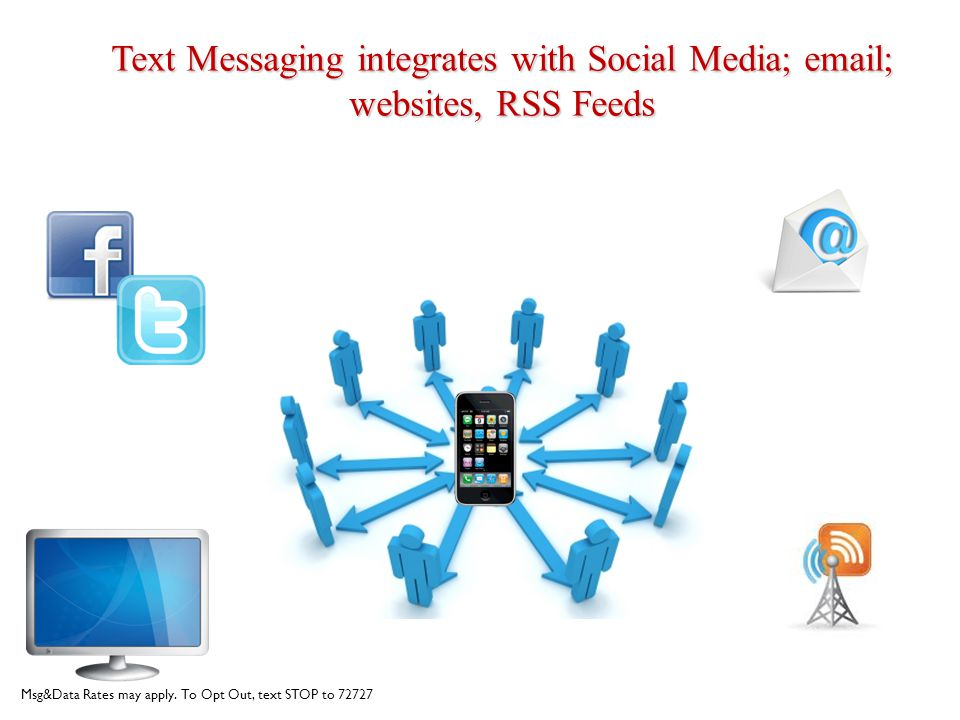 Text Messaging integrates with Social Media; email; websites, RSS Feeds Msg&Data Rates may apply. To Opt Out, text STOP to 72727