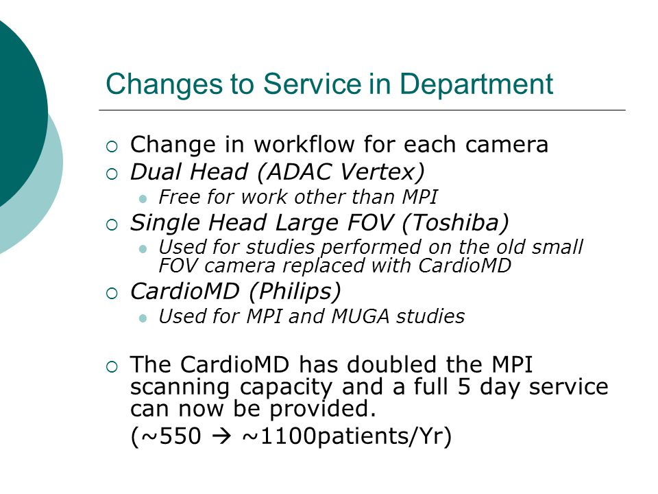 Changes to Service in Department  Change in workflow for each camera  Dual Head (ADAC Vertex) Free for work other than MPI  Single Head Large FOV (Toshiba) Used for studies performed on the old small FOV camera replaced with CardioMD  CardioMD (Philips) Used for MPI and MUGA studies  The CardioMD has doubled the MPI scanning capacity and a full 5 day service can now be provided.
