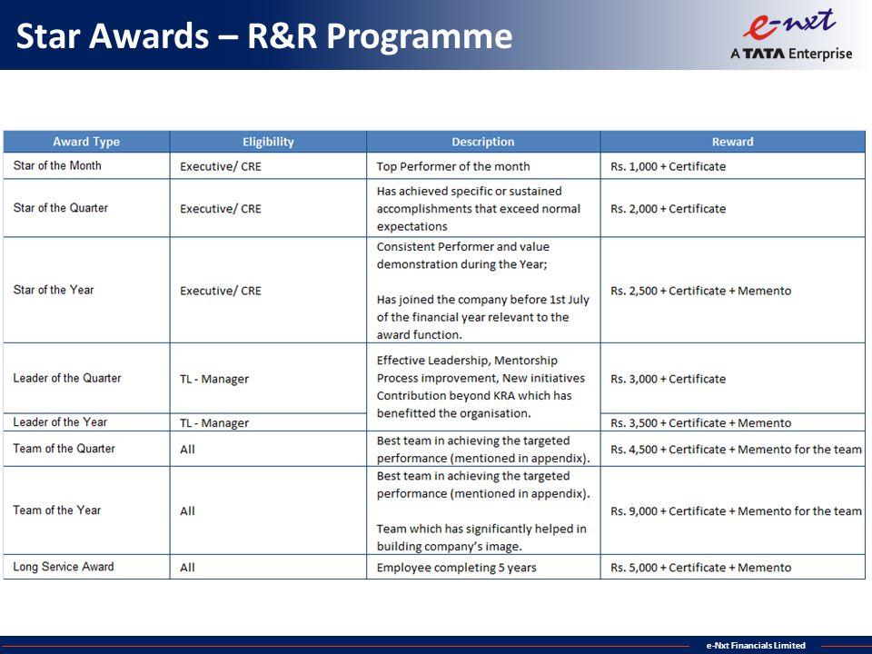 e-Nxt Financials Limited Star Awards – R&R Programme