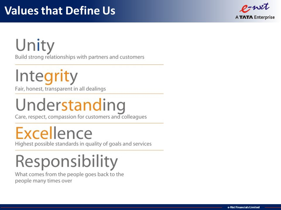 e-Nxt Financials Limited Values that Define Us