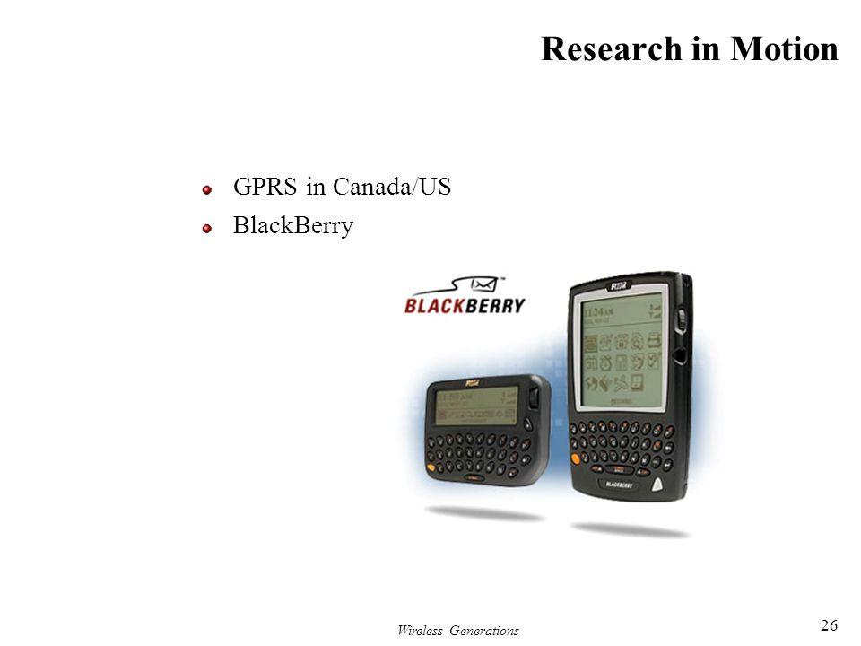 Wireless Generations 26 Research in Motion GPRS in Canada/US BlackBerry