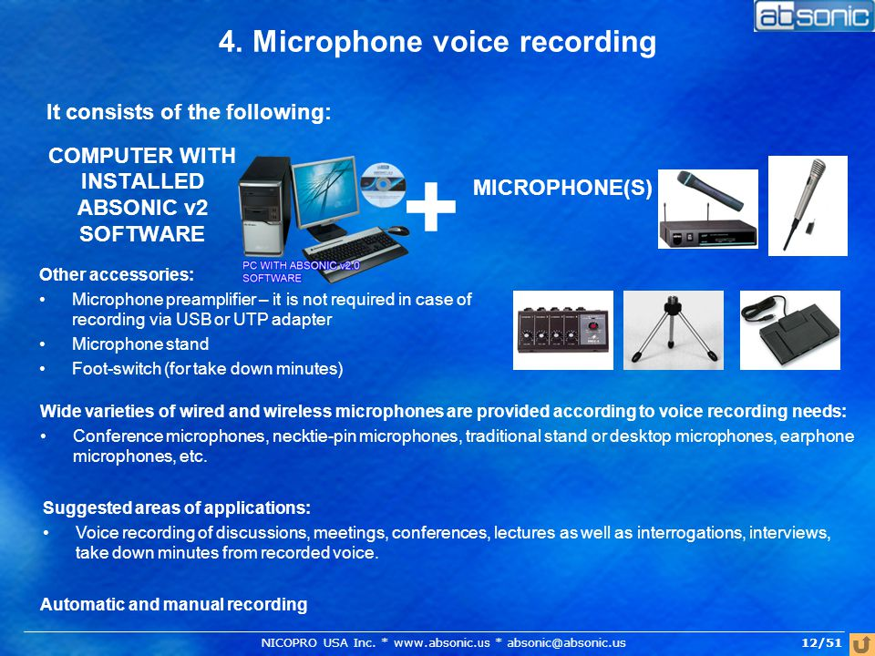 4. Microphone voice recording COMPUTER WITH INSTALLED ABSONIC v2 SOFTWARE It consists of the following: MICROPHONE(S) + Other accessories: Microphone