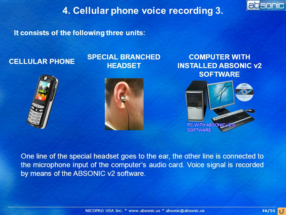 4. Cellular phone voice recording 3. It consists of the following three units: COMPUTER WITH INSTALLED ABSONIC v2 SOFTWARE SPECIAL BRANCHED HEADSET CE