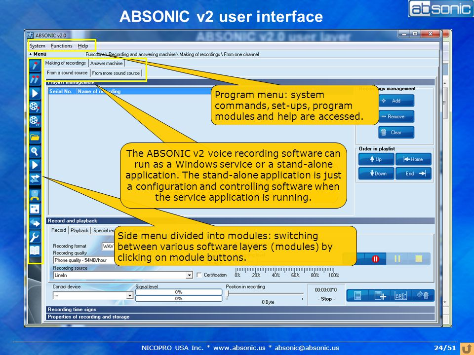 24/51 ABSONIC v2 user interface Program menu: system commands, set-ups, program modules and help are accessed.