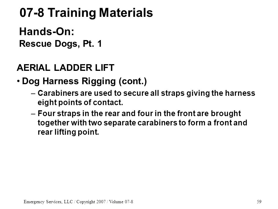 Emergency Services, LLC / Copyright 2007 / Volume 07-859 AERIAL LADDER LIFT Dog Harness Rigging (cont.) –Carabiners are used to secure all straps giving the harness eight points of contact.