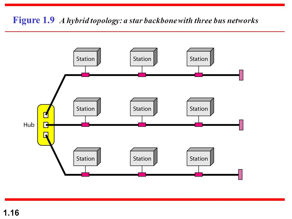 1.16 Figure 1.9 A hybrid topology: a star backbone with three bus networks