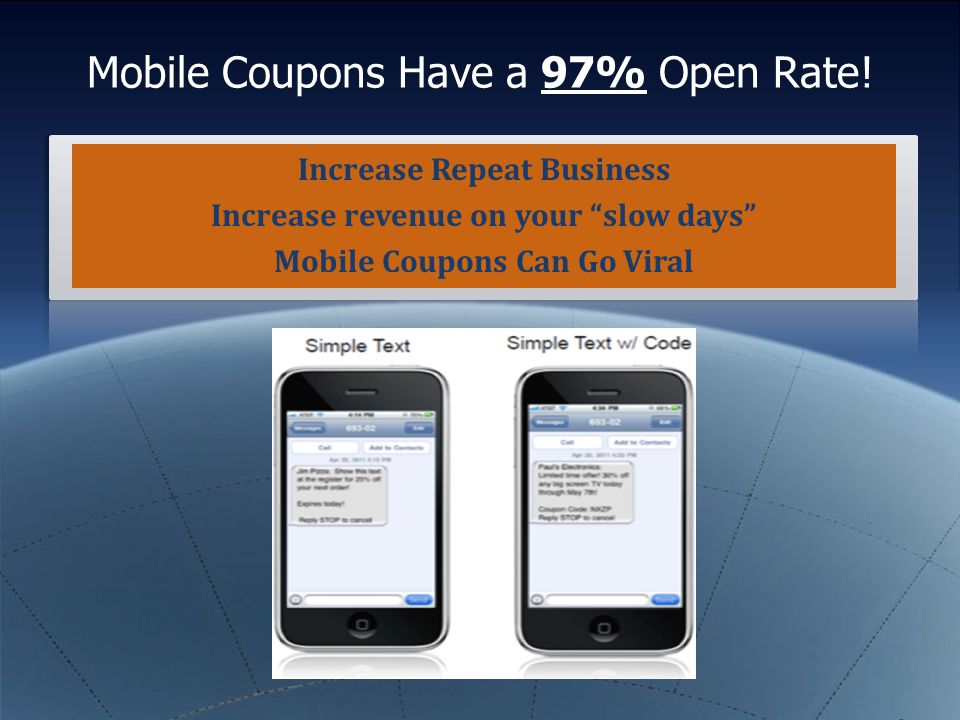 "Mobile Coupons Have a 97% Open Rate! Increase Repeat Business Increase revenue on your ""slow days"" Mobile Coupons Can Go Viral"
