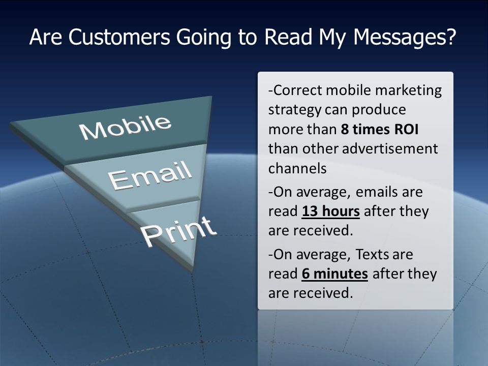 Are Customers Going to Read My Messages? -Correct mobile marketing strategy can produce more than 8 times ROI than other advertisement channels -On av