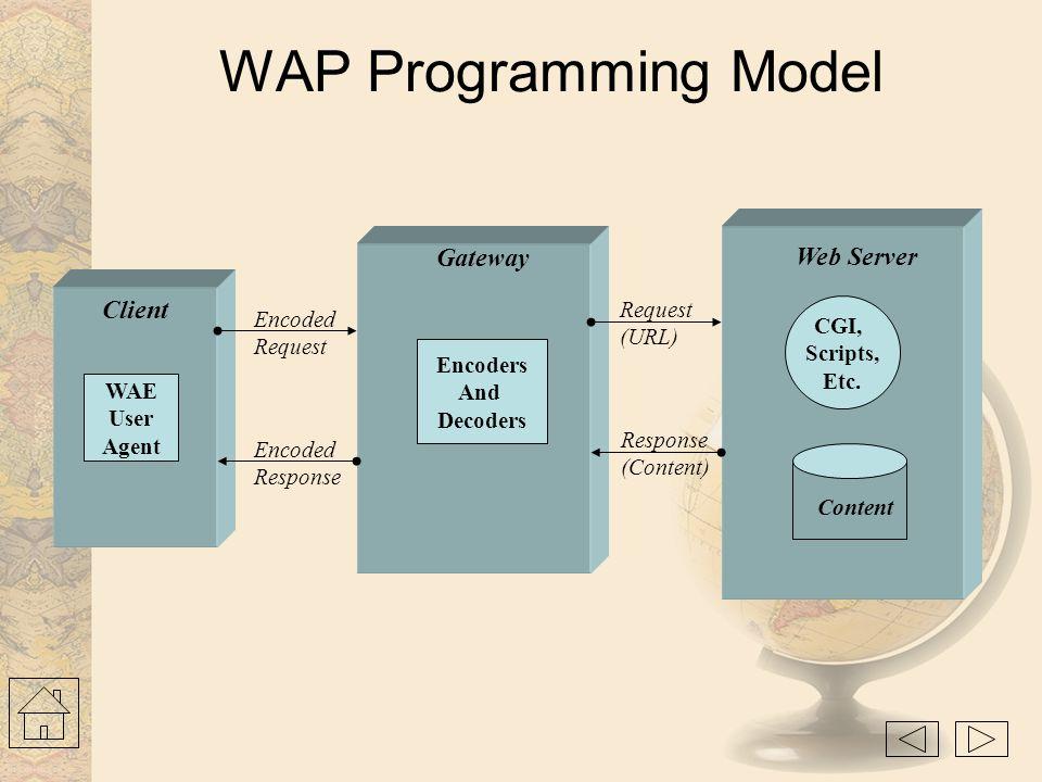 World-Wide Web Model CGI, Scripts, Etc. Content Web Server Client Web Browser Request (URL) Response (Content)