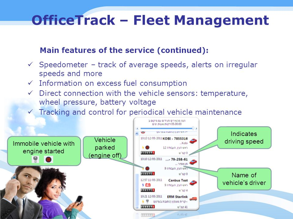 Speedometer – track of average speeds, alerts on irregular speeds and more Information on excess fuel consumption Direct connection with the vehicle sensors: temperature, wheel pressure, battery voltage Tracking and control for periodical vehicle maintenance OfficeTrack – Fleet Management Main features of the service (continued): Vehicle parked (engine off) Indicates driving speed Name of vehicle's driver Immobile vehicle with engine started
