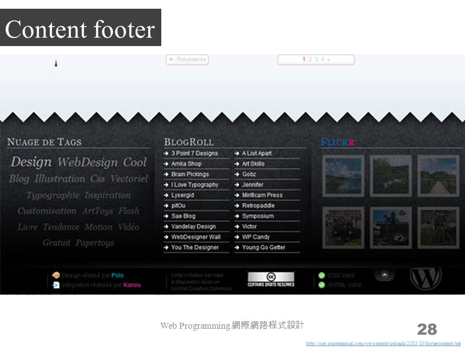 Web Programming 網際網路程式設計 28 Content footer