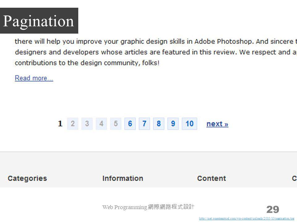 Web Programming 網際網路程式設計 29 Pagination