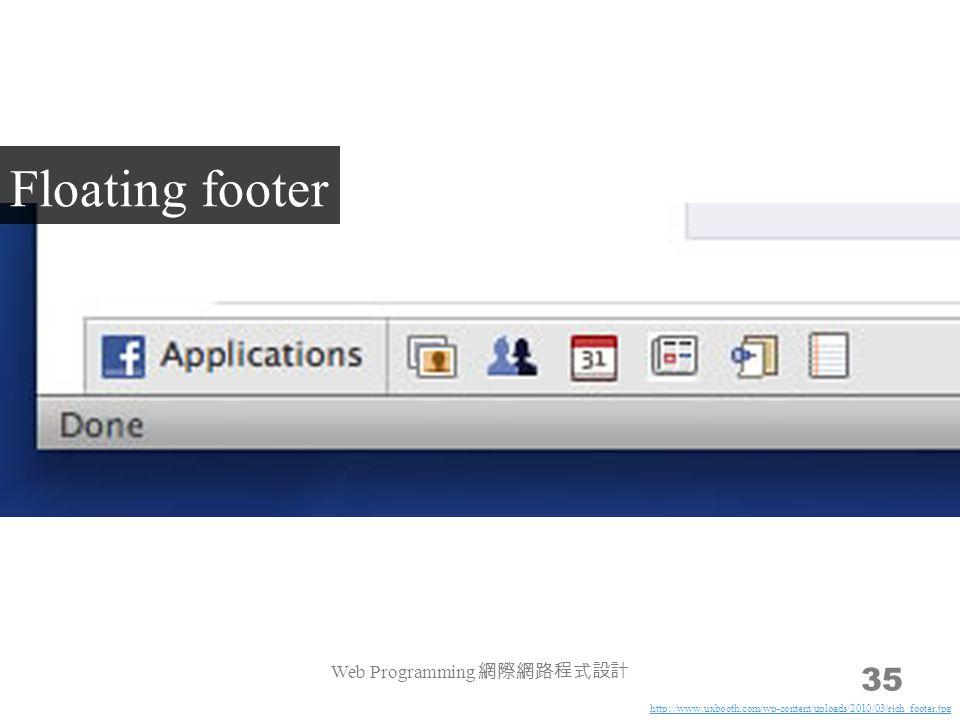 Web Programming 網際網路程式設計 35 Floating footer