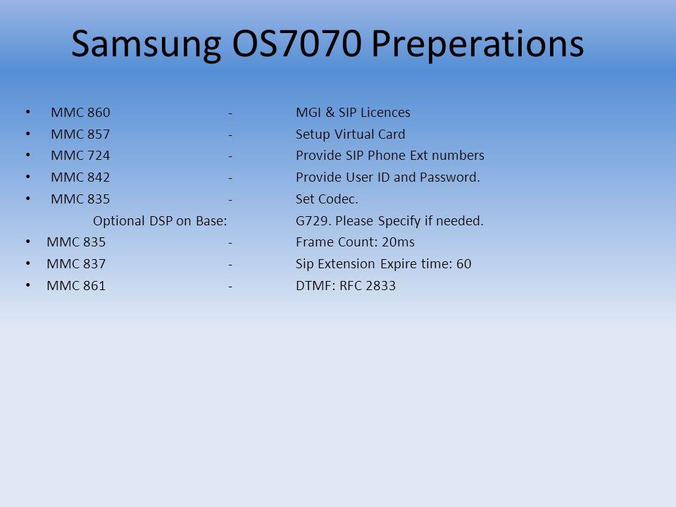 MMC 860-MGI & SIP Licences MMC 857-Setup Virtual Card MMC 724-Provide SIP Phone Ext numbers MMC 842-Provide User ID and Password. MMC 835-Set Codec. O
