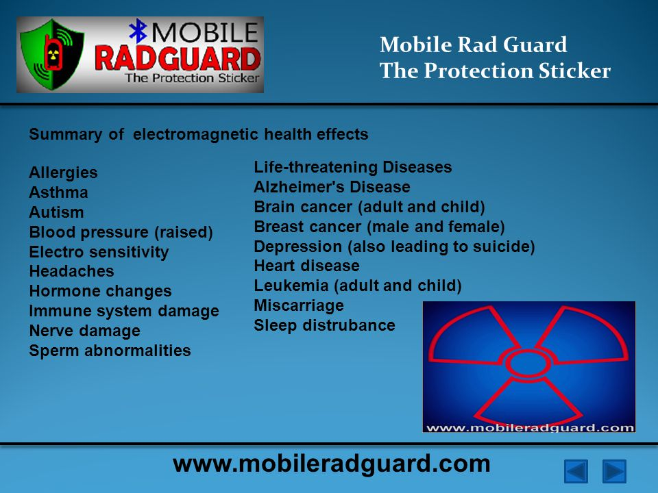Mobile Rad Guard The Protection Sticker The principle operation from the point of view of physics: The electromagnetic field generated by the charge in the oscillating circuit generates two components: ● Heat (energy) ● Non-thermal - vortex electric field created by changing the gradient of the magnetic induction www.mobileradguard.com
