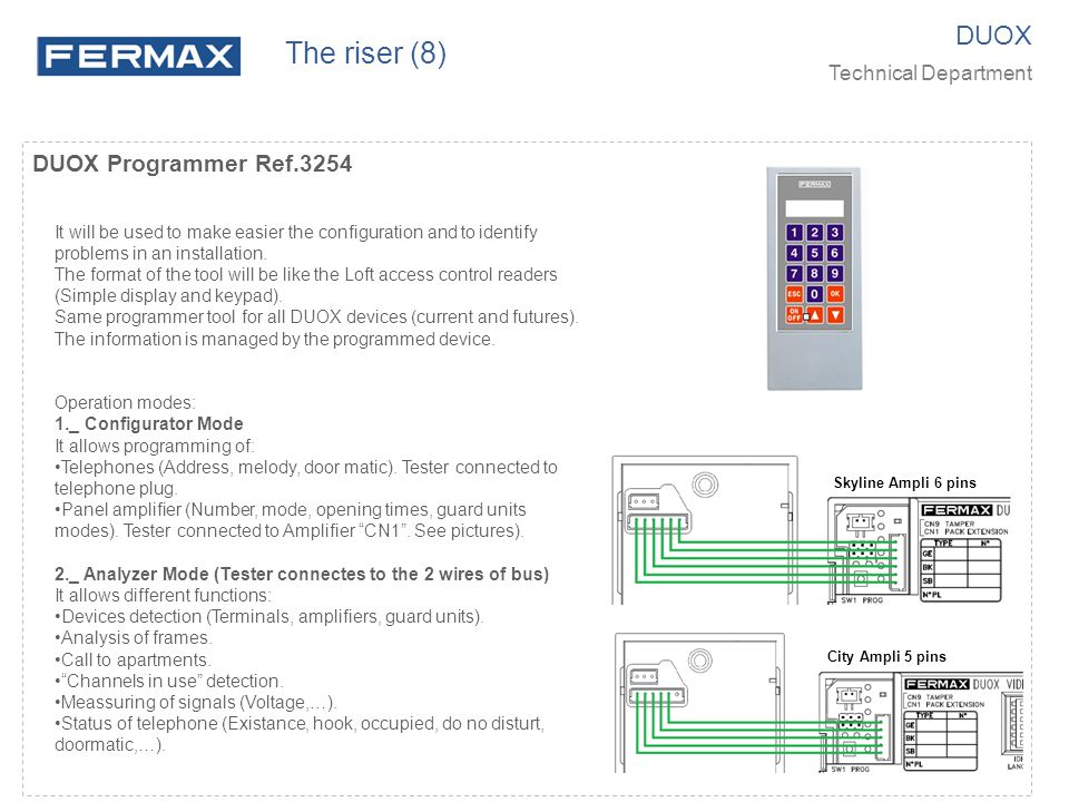 DUOX Programmer Ref.3254 It will be used to make easier the configuration and to identify problems in an installation. The format of the tool will be