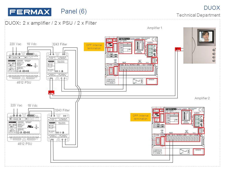 DUOX Technical Department DUOX: 2 x amplifier / 2 x PSU / 2 x Filter 220 Vac 18 Vdc 4812 Amplifier 1 Amplifier 2 4812 PSU 3243 Filter 220 Vac 18 Vdc 4