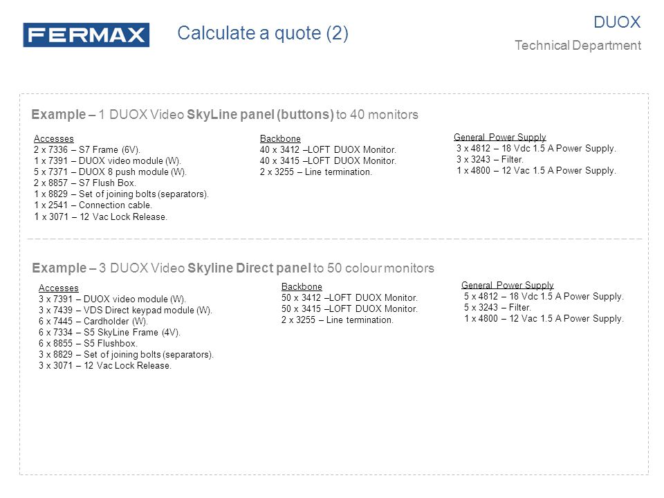 Example – 1 DUOX Video SkyLine panel (buttons) to 40 monitors General Power Supply 3 x 4812 – 18 Vdc 1.5 A Power Supply. 3 x 3243 – Filter. 1 x 4800 –