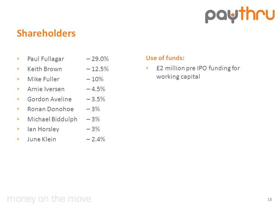 Shareholders Paul Fullagar – 29.0% Keith Brown – 12.5% Mike Fuller – 10% Arnie Iversen – 4.5% Gordon Aveline – 3.5% Ronan Donohoe – 3% Michael Biddulph – 3% Ian Horsley – 3% June Klein– 2.4% Use of funds: £2 million pre IPO funding for working capital 18