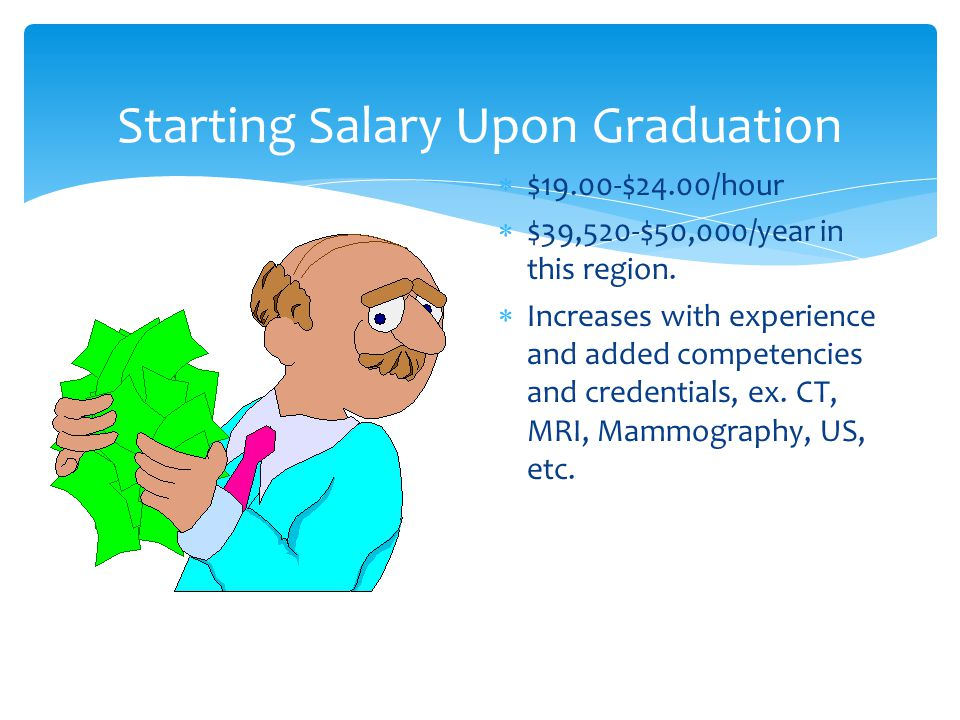Starting Salary Upon Graduation  $19.00-$24.00/hour  $39,520-$50,000/year in this region.