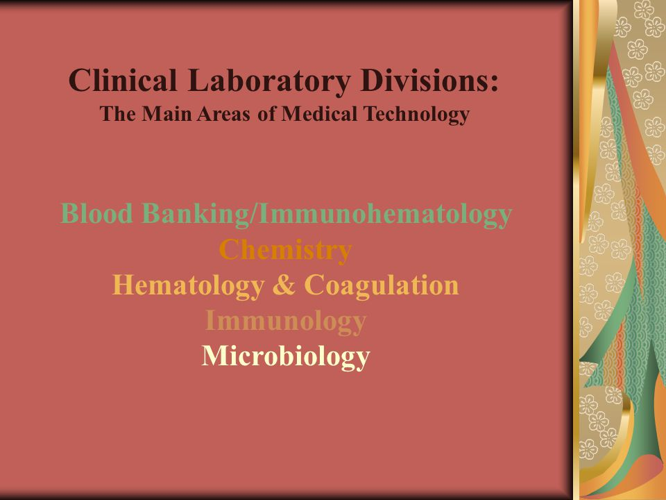 Blood Banking/Immunohematology Chemistry Hematology & Coagulation Immunology Microbiology Clinical Laboratory Divisions: The Main Areas of Medical Technology