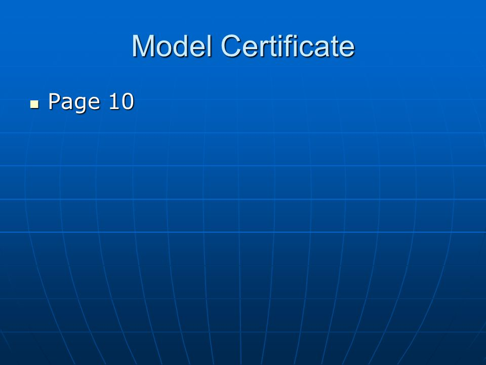 Model Certificate Page 10 Page 10