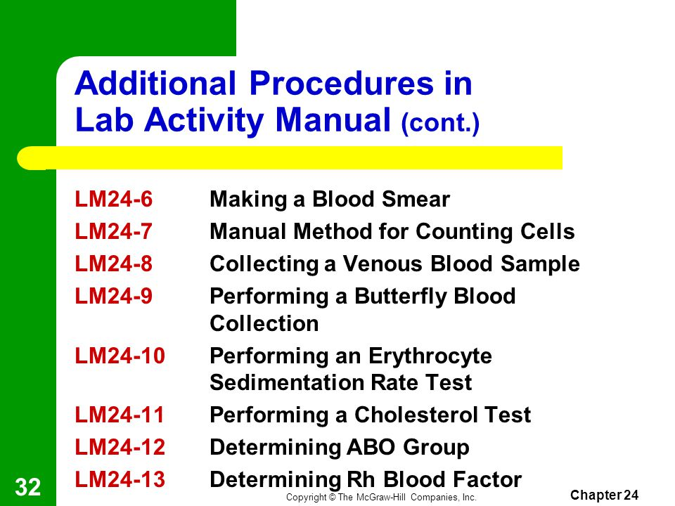 Copyright © The McGraw-Hill Companies, Inc. Chapter 24 31 Additional Procedures in Lab Activity Manual LM24-1Performing the Test for Infectious Mononu