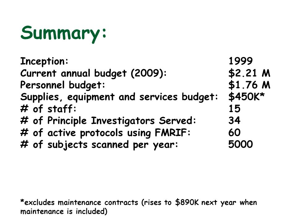 Summary: Inception: 1999 Current annual budget (2009): $2.21 M Personnel budget:$1.76 M Supplies, equipment and services budget:$450K* # of staff:15 #