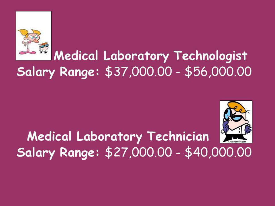 Medical Laboratory Technologist Salary Range: $37,000.00 - $56,000.00 Medical Laboratory Technician Salary Range: $27,000.00 - $40,000.00
