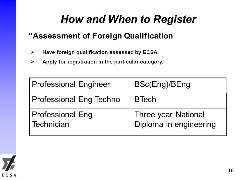 "16 How and When to Register ""Assessment of Foreign Qualification  Have foreign qualification assessed by ECSA.  Apply for registration in the partic"