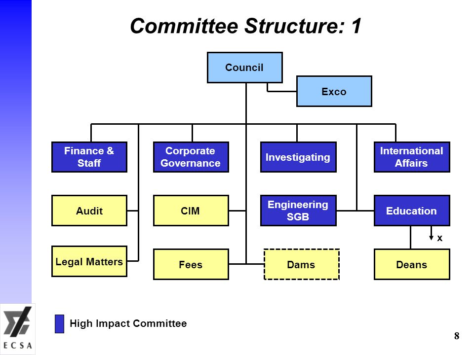 88 Committee Structure: 1 Finance & Staff Investigating Corporate Governance International Affairs Council Exco Legal Matters High Impact Committee CIMAudit DamsFees Education Deans x Engineering SGB