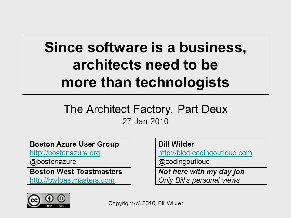 5 The Players Business People –Internal Users –Business Partners (your company) –Execs / Suits –Non-Techs Technologists –Developers (Devs) –Architects (Director Engineering, CTO, etc.) –Not-yet-Architects –Not-gonna-be-Architects