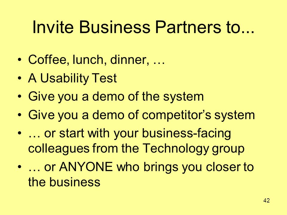 42 Invite Business Partners to...